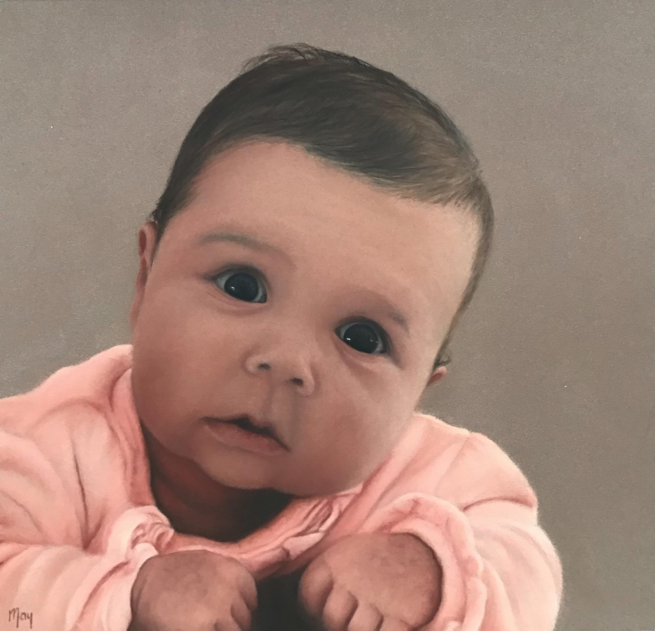 Pastel portret met pastel potlood op Pastelmat van een baby in een roze pakje