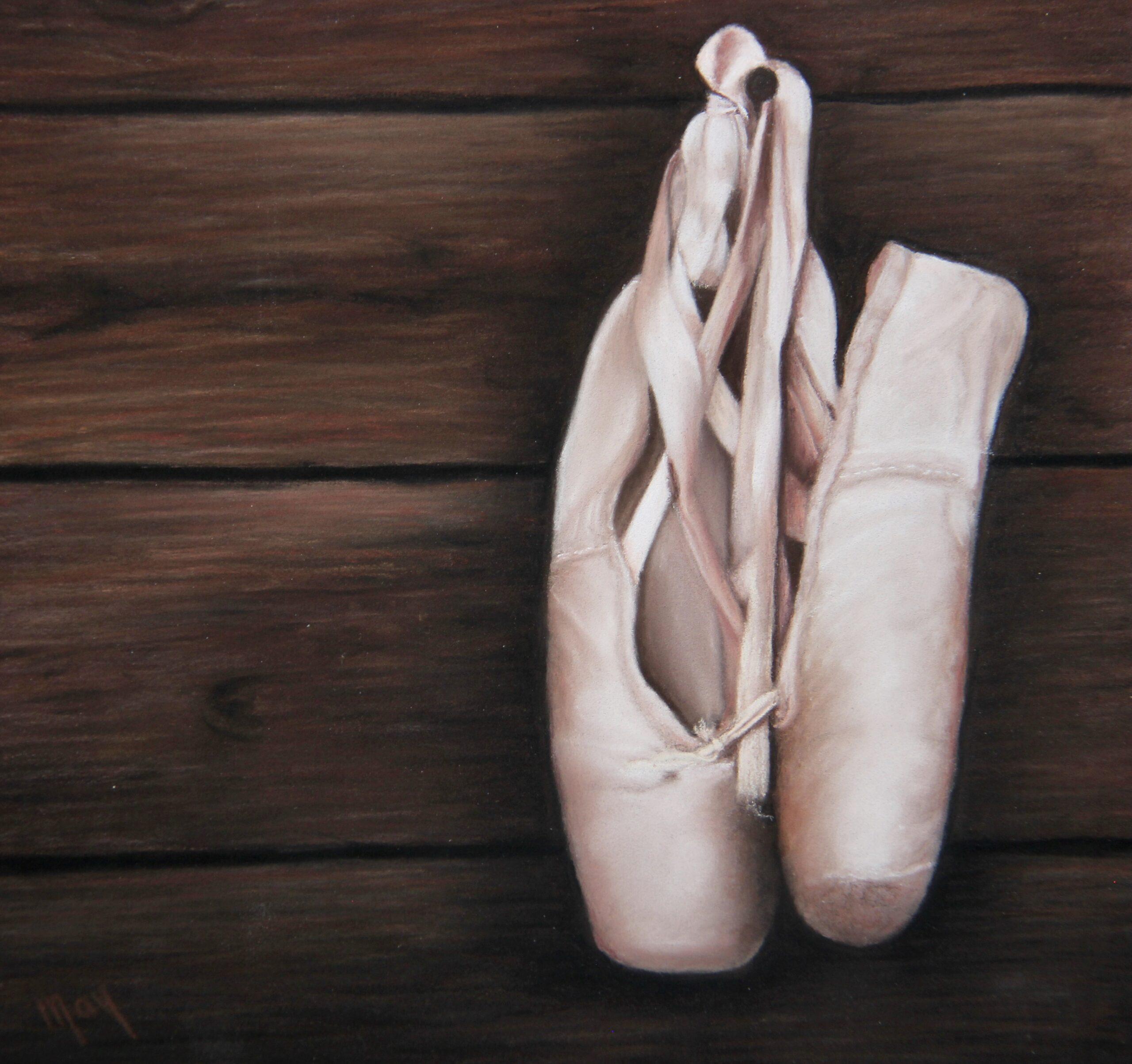 Pastel portret met pastel potlood op Pastelmat van roze balletschoenen