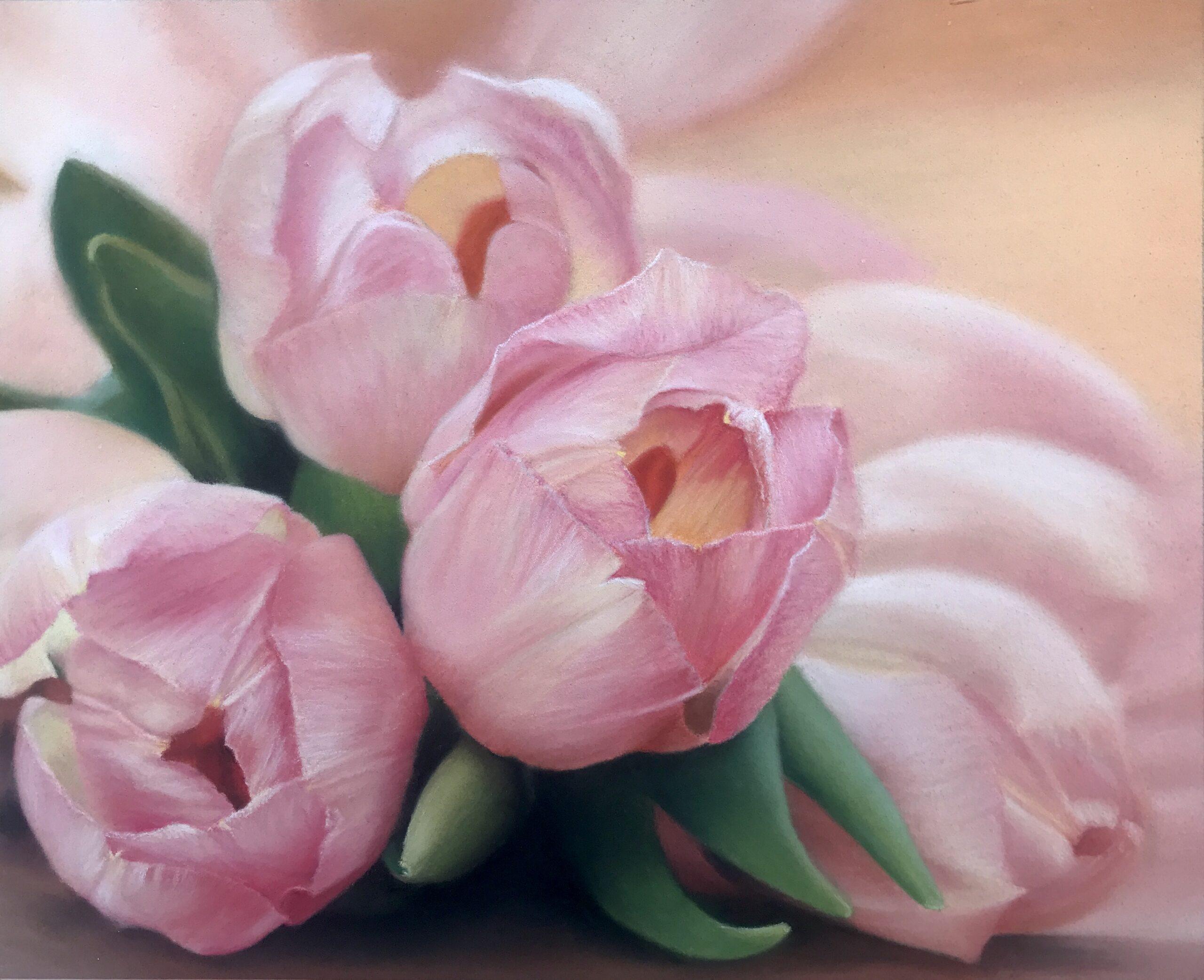 Pastel portret met pastel potlood op Pastelmat van roze tulpen